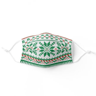 White, Green & Red Fair Isle Faux Knit Sweater Adult Cloth Face Mask