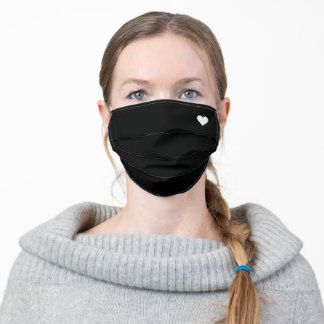 White Heart on Black Adult Cloth Face Mask