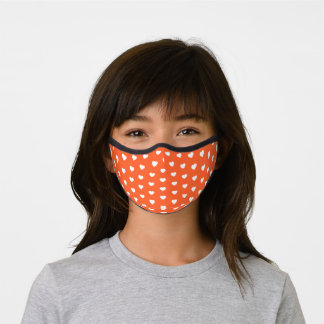 White Heart Pattern with Editable Background Color Premium Face Mask