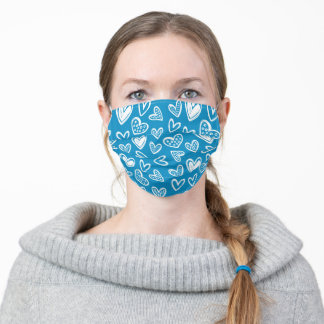 White Hearts on Ocean Blue Background Cute Pleated Adult Cloth Face Mask