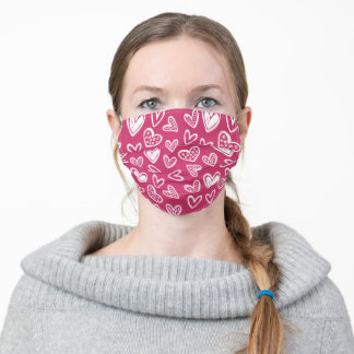 White Hearts on Raspberry Pink Background Pleated Adult Cloth Face Mask