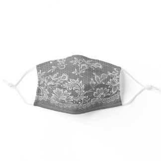 White Lace Fringe on Silver Adult Cloth Face Mask