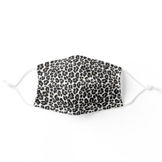 White Leopard Skin Wild Cat Animal Print Pattern Adult Cloth Face Mask