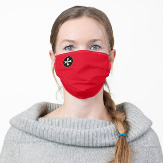White Maltese Cross on Red & Malta order fashion Adult Cloth Face Mask