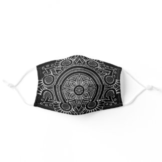 White Mandala on Black Background Adult Cloth Face Mask