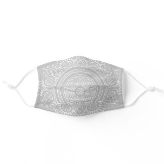White Mandala on Gray Background Adult Cloth Face Mask