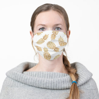 White Mask with Gold Pineapples Floral Pattern