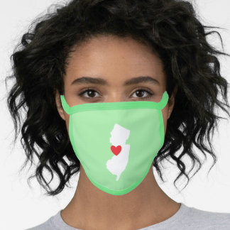 White New Jersey Red Heart Light Green Face Mask