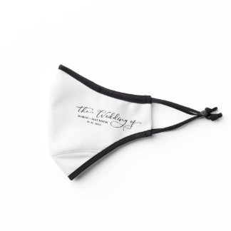 White (or other), Wedding Guests, Elegant Script Premium Face Mask