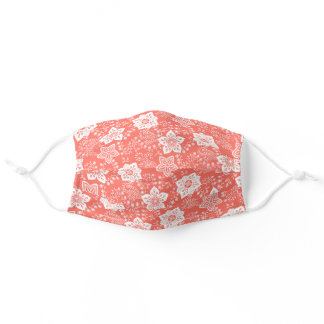 White Paisley Floral Art On Coral Red Peach Orange Adult Cloth Face Mask