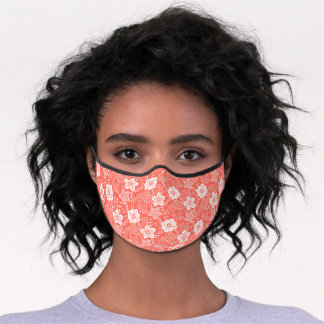 White Paisley Floral Art On Coral Red Peach Orange Premium Face Mask