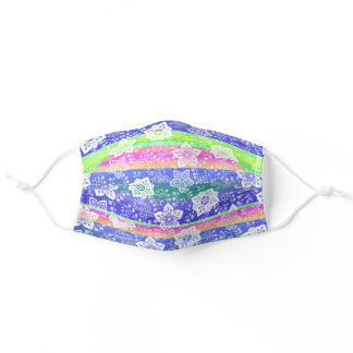 White Paisley Floral Blue Pink Lime Green Stripes Adult Cloth Face Mask