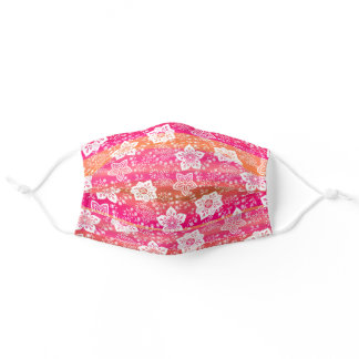 White Paisley Floral Bright Pink Orange Stripes Adult Cloth Face Mask