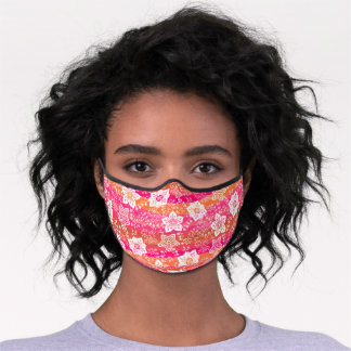 White Paisley Floral Bright Pink Orange Stripes Premium Face Mask