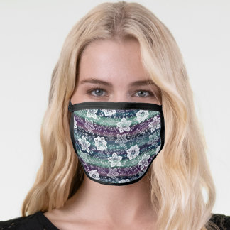 White Paisley Floral Dark Purple Teal Blue Stripes Face Mask