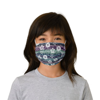 White Paisley Floral Dark Purple Teal Blue Stripes Kids' Cloth Face Mask