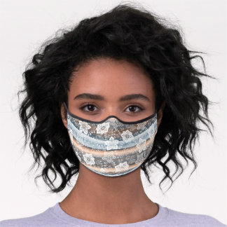 White Paisley Floral Gray Blue Taupe Brown Stripes Premium Face Mask