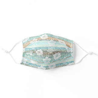 White Paisley Floral Mint Green Teal Blue Stripes Adult Cloth Face Mask