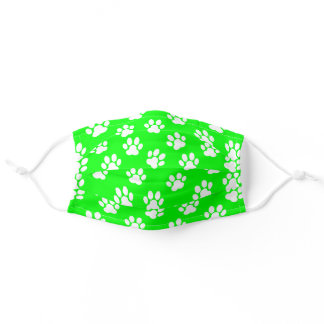 white paw prints pattern on neon green adult cloth face mask