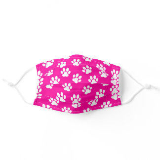 white paw prints pattern on neon pink adult cloth face mask