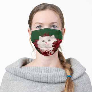 White Perisan cat Christmas Adult Cloth Face Mask