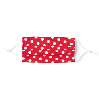 White Polka Dot Pattern on Red Adult Cloth Face Mask