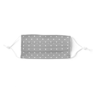 White Polka Dots on Gray Adult Cloth Face Mask