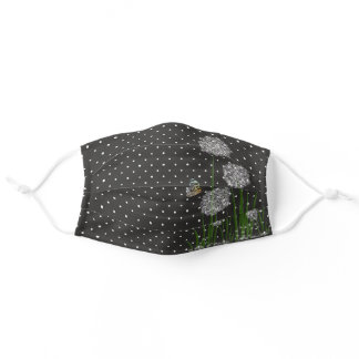 white puff flowers with butterfly on pin dots adult cloth face mask
