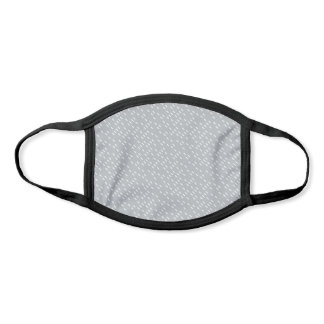 White Rectangle Ditsy Pattern on Dove Gray Face Mask