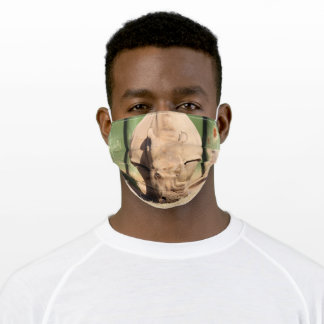 White rhino adult cloth face mask