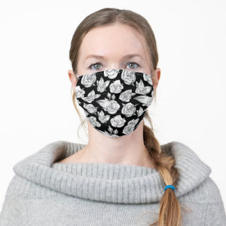 White Roses on Black Background Adult Cloth Face Mask