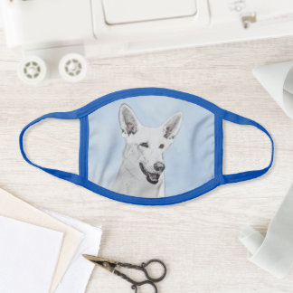 White Shepherd Painting - Cute Original Dog Art Face Mask