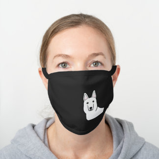 White Shepherd / White German Shepherd Dog Head Black Cotton Face Mask