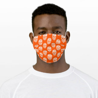 White Skulls on Orange Adult Cloth Face Mask