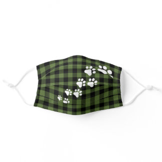 White Snow Dog Paws Green Black Buffalo Checks Adult Cloth Face Mask