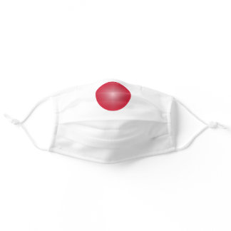 White solid color with Red Nose Adult Cloth Face Mask