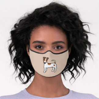 White & Tan Smooth Coat Parson Russell Terrier Dog Premium Face Mask