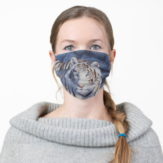 White Tiger with Blue Eyes Adult Cloth Face Mask