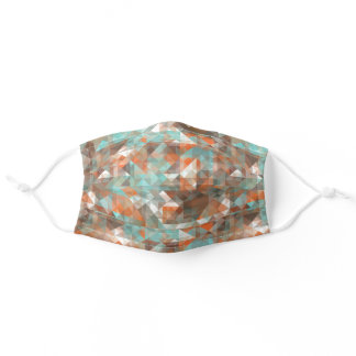 White Turquoise Green Orange Brown Polygon Art Adult Cloth Face Mask