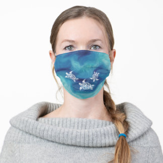 White Turtles in Blue Ocean Adult Cloth Face Mask