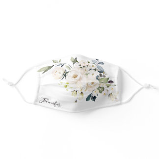 White Watercolor Floral Wedding Bouquet with Name Adult Cloth Face Mask