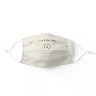white wedding doves with rings adult cloth face mask