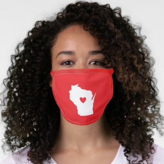 White Wisconsin and Red Heart Face Mask