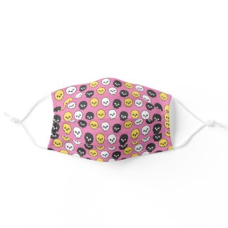 White Yellow and Black Skulls on Pink Background Adult Cloth Face Mask