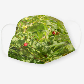 Wild Raspberry - Green and Red Nature Artsy Photo Cloth Face Mask