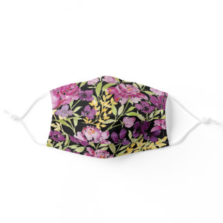 Wildflower garden peony purple pink black floral adult cloth face mask