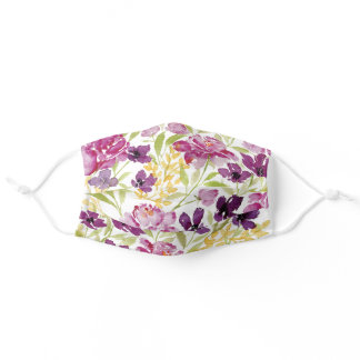 Wildflower peony purple floral Face Mask