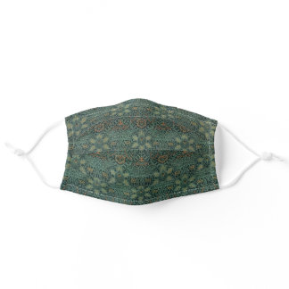 William Morris Antique Iconic Dark Green Pattern Adult Cloth Face Mask