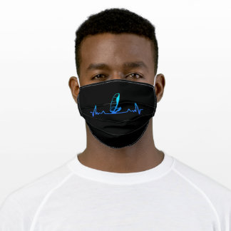 Windsurfing Heartbeat Line Dad Gift Adult Cloth Face Mask