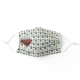 wine bottles with wine glass adult cloth face mask